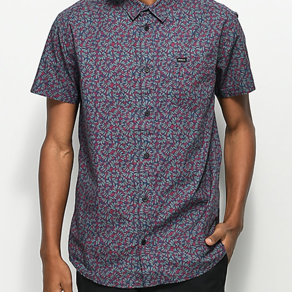 RVCA Other - RVCA Brong navy floral woven short sleeve shirt, M